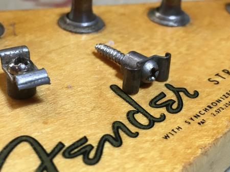 1959 Original Fender Stratocaster String Tree With Metal Spacer & Screw