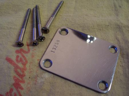 1956 Orig Fender Strat Neck Plate With Orig Screws