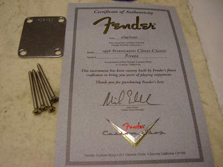 1956 Fender Custom Shop COA & Neck Plate