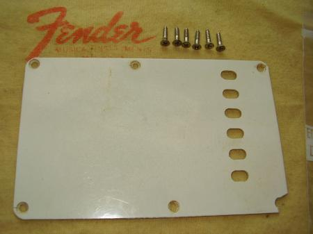 1955 ORIG FENDER STRATOCASTER BACK TREM COVER & SCREWS
