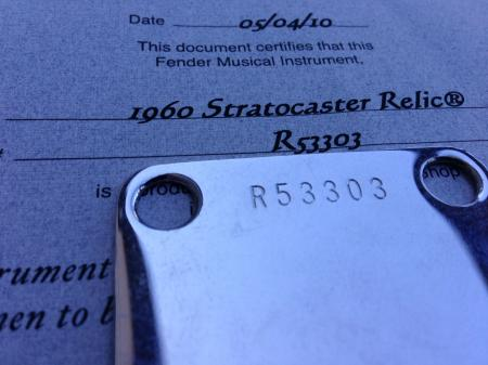 1960 Fender Stratocaster Custom Shop Relic 2010 COA and Neck Plate