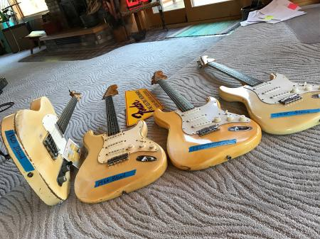 1960 1966 1974 Orig Blond & Olympic White Fender Strat Tele Compare