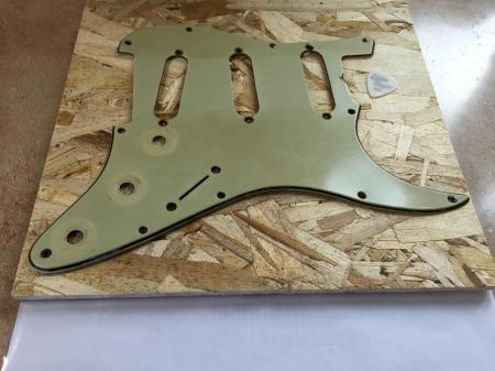 1963 Orig 1-63 Green Nitro Fender Strat Pickguard & Shield