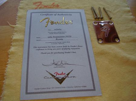 1969 NOS Fender Custom Shop COA & Neck Plate